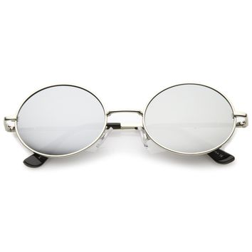 Retro 1990's Fashion Oval Mirrored Flat Lens Sunglasses C137
