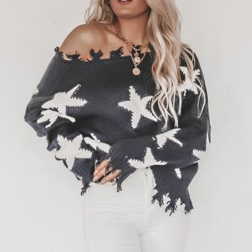 Like A Diamond Navy & White Star Distressed Sweater