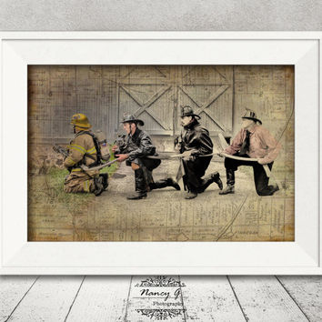 Vintage Firefighters, Firefighters Print, Firefighter Gift, Wall Art, Fine Art Print, Artwork, Living Room Decor, Fire Department