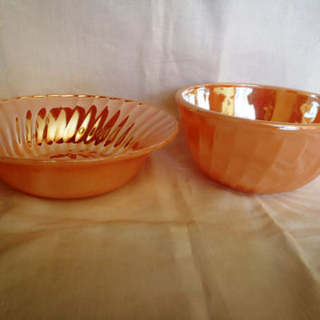 Vintage Fire King Serving Bowl | Set of 2 | Peach And Glossy Color | Straight from the 50's