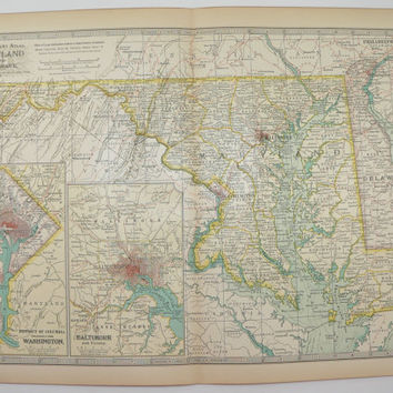 1901 Vintage Map of Maryland, Delaware Map, DC Map, East Coast State Map, Baltimore, Office Decor Gift for Coworker, Antique Wall Art