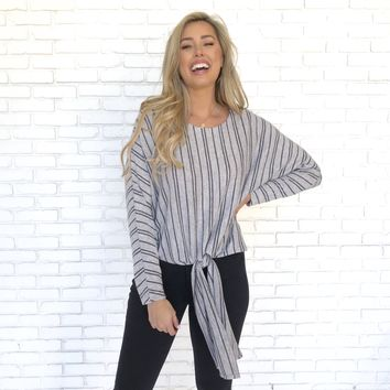 Take A Stroll Fleece Stripe Sweater Top in Grey