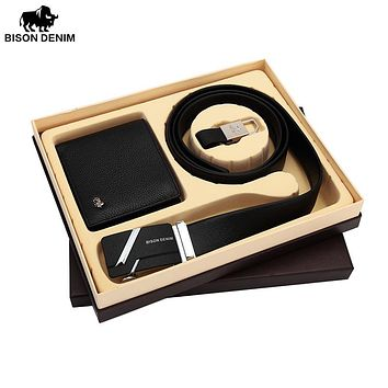 Genuine Leather Men's Wallets Purse And Leather Belts Male Gift Box Set For Valentine Day Husband