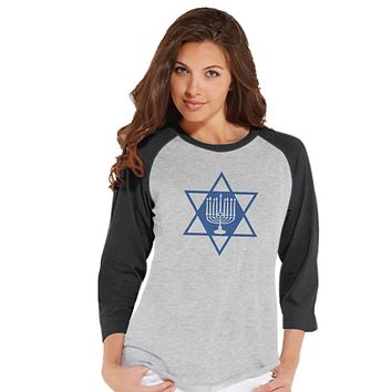 Hanukkah Shirt - Star Menorah Shirt - Ladies Hanukkah Baseball Tee - Happy Hanukkah Outfit - Hanukkah Gift Idea - Family Holiday Shirts
