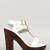 Women's Bamboo Double Buckle T-Strap Faux Wood Heels