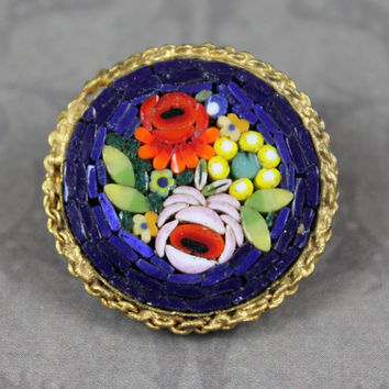 Vintage Italian Micro Mosaic Blue, Red and Lime Green Floral Round Gold Brooch