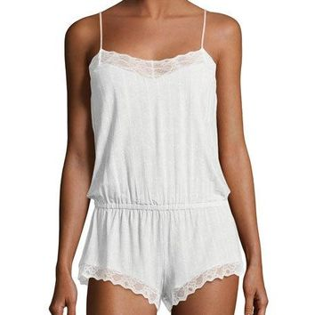 Eberjey Secret Attic Jersey Teddy Romper, Gray