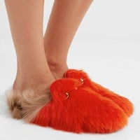 GUCCI Princetown horsebit-detailed two-tone shearling slippers.