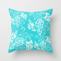 Lovely aqua blue floral decorative graphic  pattern. Throw Pillow by PatternWorld