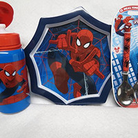 Spiderman Stunning Set for Your Kid - Plate, Water Bottle and Flatware Set 2 Pc