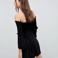 ASOS Off Shoulder Sundress with Shirring and Balloon Sleeves at asos.com