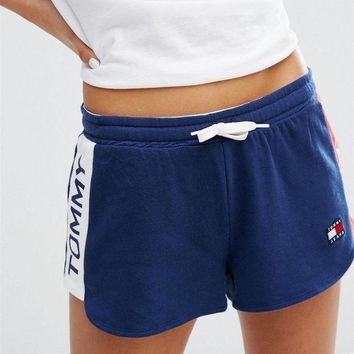 PEAPON Tommy Hilfiger Jeans Women Logo Print Elastic Leisure Sports Shorts