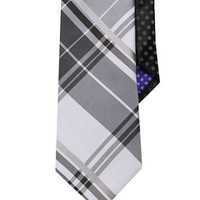 Perry Ellis Classic Fit Plaid and Polka Dot Tie