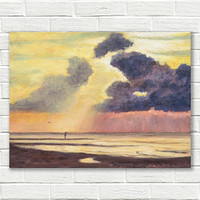 Oil painting on canvas, Dutch landscape, beach painting, original painting, oil on canvas, Dutch landscape painting, small painting