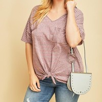 Party Striped Knot Top | Colors | Plus