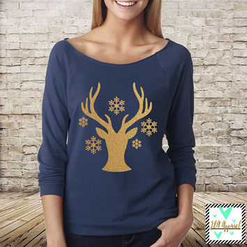 Christmas Shirt - Deer and Snowflake Silhouette - Winter Shirt - Slouchy Off The Shoulder 3/4 Sleeve Shirt - Christmas Sweater
