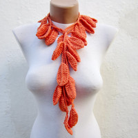 Leaf Necklace Scarf,Crochet Lariat Scarf,Orange Scarf