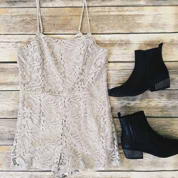 Lace Thin Strap Romper (Gray)