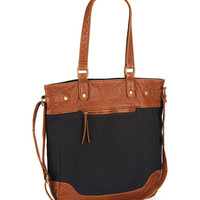Aeropostale  Womens Canvas and Faux Leather Tote Bag