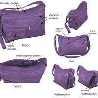 """The """"Everything Hobo"""" Large Hobo Handmade Purple Leather Purse with Hidden Pocket"""