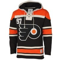 Men's Philadelphia Flyers Old Time Hockey Black Home Lace Heavyweight Hoodie