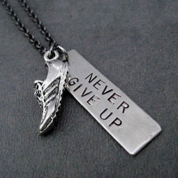 RUN NEVER Give Up Necklace - Runner Necklace - Dog Tag Style Pendant with Running Shoe Charm on Gunmetal Chain - Never Stop Running - Runner