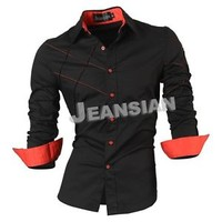 Jenasian Fashion Mens Casual Dress Shirts Top Slim Cross 6 Colors 5 Sizes 2028