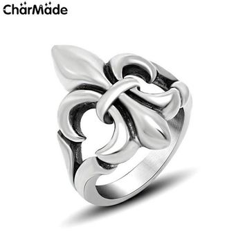 Vintage Fleur de Lis Scout Lily Ring For Women Men's Stainless Steel Party Rings French Quarter Jewelry Bague New Fine Gift R657