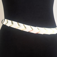 90s Belt 90s White Belt Metal Belt Unique Belt Vintage 90s Belt White Elastic Belt Weird Belt Gift For Her Holiday Belt