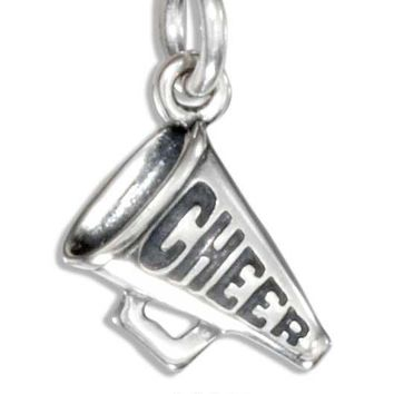 "Sterling Silver Small ""cheer"" Megaphone Charm"
