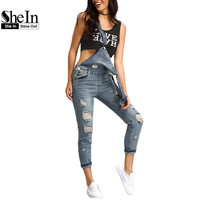 SheIn Women Rompers and Jumpsuits for Summer New Casual Sleeveless Blue Straps Ripped Denim Pockets Fitness Jumpsuit