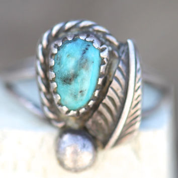 Turquoise, Ring, Sterling Silver, Vintage, Boho Rings, Fashion, Hippie, Navajo, Indian, Southwest