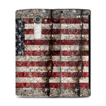 Rustic Cracked Concrete American Flag Skin for the LG