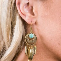 Dreamcatcher Feather & Turquoise Earrings