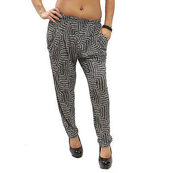 New Casual Black & White Aztec Pattern Harem Stretch Pants One Size (SML) KP02