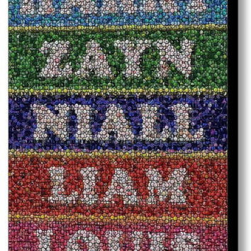 Framed 9X11 inch One Direction Bottle Cap Mosaic Limited Edition Art Print w/COA