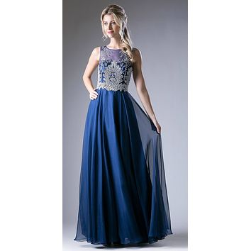 Cinderella Divine 56 Royal Blue Bateau Illusion Neckline Embellished Bodice Sleeveless Prom Gown