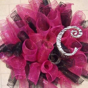 Hot pink and black deco mesh wreath // zebra initial
