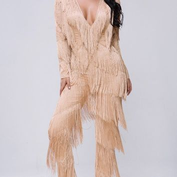 495c4575cbd5 Best Of Times Beige Fringe Tassel Long Sleeve Plunge V Neck Skin
