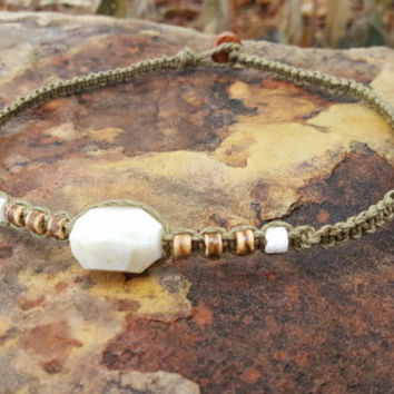 Hemp Choker Necklace, White Agate, Coconut Shells, Puka Shells, Hemp Necklace, Handmade Jewelry, Gift for Her, Surfer Girl Jewelry, Gift