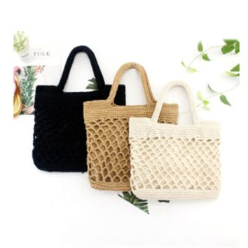 Handmade straw bag made of natural color handmade cotton hand-woven rattan coffee