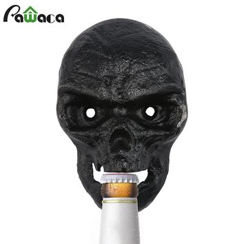 Vintage Wall Mounted Skull Shaped Bottle Opener with 2pcs