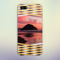 Island Sunset x Gold Wood Stripes Design Phone Case for iPhone 6 6+ iPhone 5 5s 5c iPhone 4 4s and Samsung Galaxy s5 s4 & s3