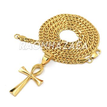 Hip Hop Iced Out Stainless Steel Solid Egyptian Ankh Pendant W Cuban Chain.