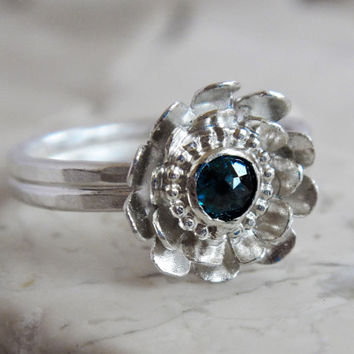 Rose Cut Blue Diamond and Sterling Silver Flower Ring, Engagement Ring, Wedding Jewelry, Promise Ring, Conflict Free Diamond, Romantic Ring