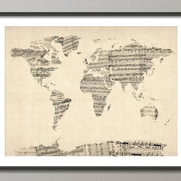 Old Sheet Music World Map