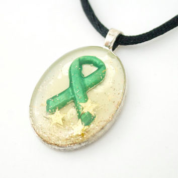 Organ Donation Awareness Necklace Cream with Gold Stars in Silver Color Bezel