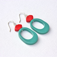Teal red funky earrings retro colorful jewelry dangle polymer clay earrings