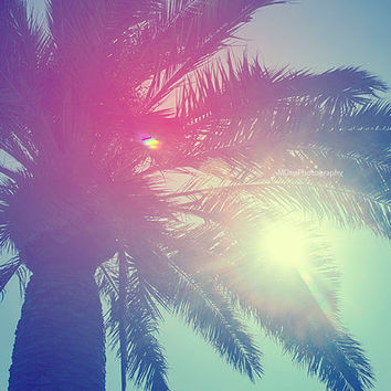 Santa Monica Palm Tree rainbow light Beach Photography Sunlight California Los Angeles Fine Art Summer Downtown Nursery Print