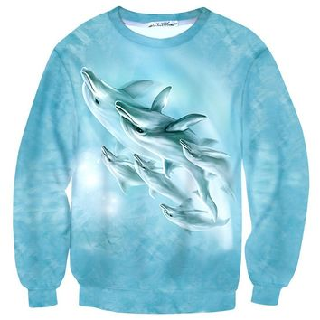 A Pod of Dolphins All Over Print Unisex Pullover Sweater | Animal Themed Apparel